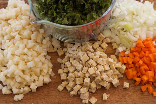 ingredients for Kale, Tempeh and Potato Hash