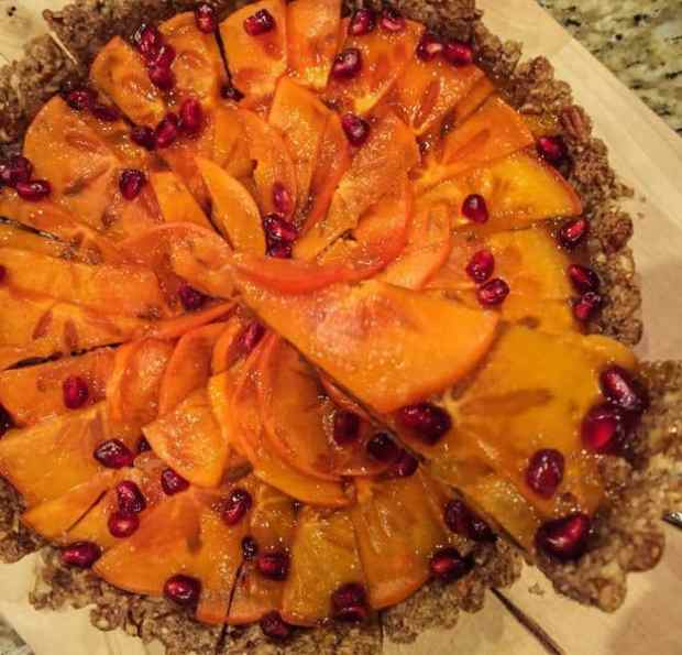 Easy Persimmon Tart with Pecan Crust