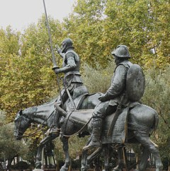 Don Quixote and Sancho Panza 3 .Madrid. Detail of Monumento a Miguel de Cervantes by Kullo-Valera (1876 - 1932) by Vitold Muratov