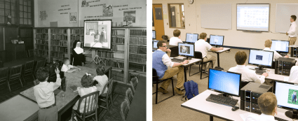 nun, slide projector and twenty-first century classroom with computers