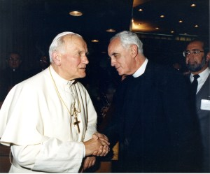 Pope John Paul II greets Msgr. McManus late in both their lives, McManus Papers, ACUA.