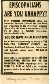 """Episcopalians, Are You Unhappy?"" Advertisement appealing to discontent within traditional Anglican circles, 18 April 1979, Albany Herald. James Parker Papers, The Catholic University of America (CUA)."