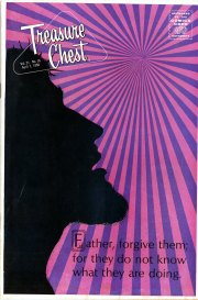 The Last Easter cover, silhouette of Christ's profile while on the Cross, Treasure Chest of Fun and Fact, v. 21, n. 16, April 7, 1966.