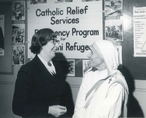Egan and Teresa, ca. 1970s. Catholic Relief Services was instrumental in aiding and spreading Teresa's mission and message across the world. American Catholic History Research Center and University Archives.