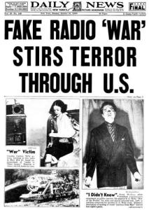 New York Daily News headline, Oct. 31, 1938