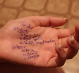 To do list scribbled on hand