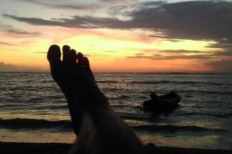 Sunset on Lembongan at Agus Shipwreck  Restaurant Bar