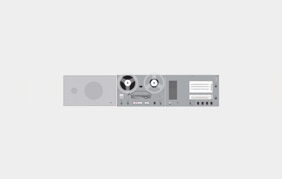 L 450 flat loudspeaker, TG 60 reel-to-reel tape recorder and TS 45 control unit, 1962-64, by Dieter Rams for Braun