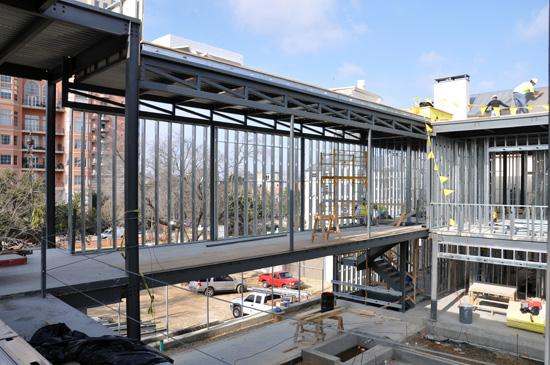 view of steel bridge and metal stud framing
