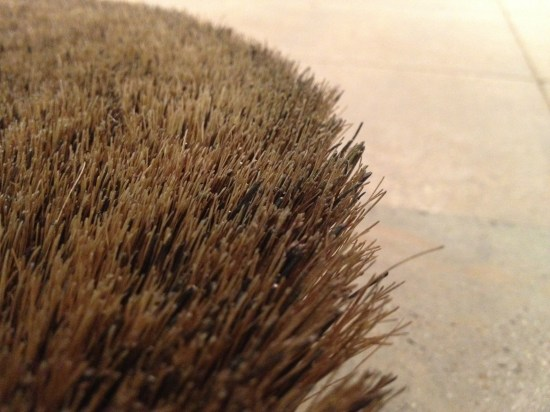 Bassine brush concrete polishing - closeup look at the bristles