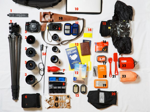 The content of Photographer Matthew Carbone's bag