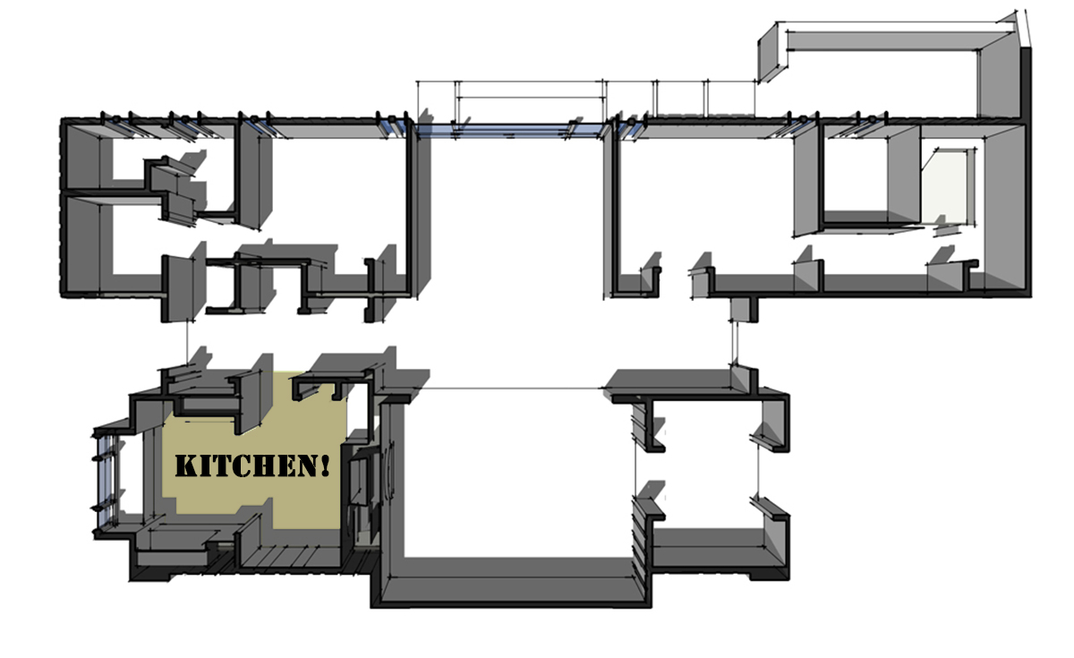 3D house model plan perspective