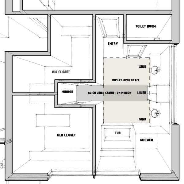Master bathroom prison toilets life of an architect for Master bathroom layouts without tub