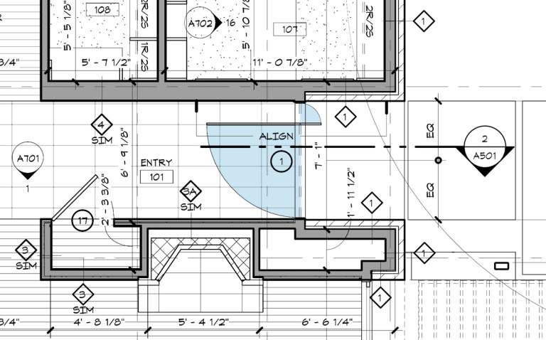 Off Center Pivot Entry Door Plan
