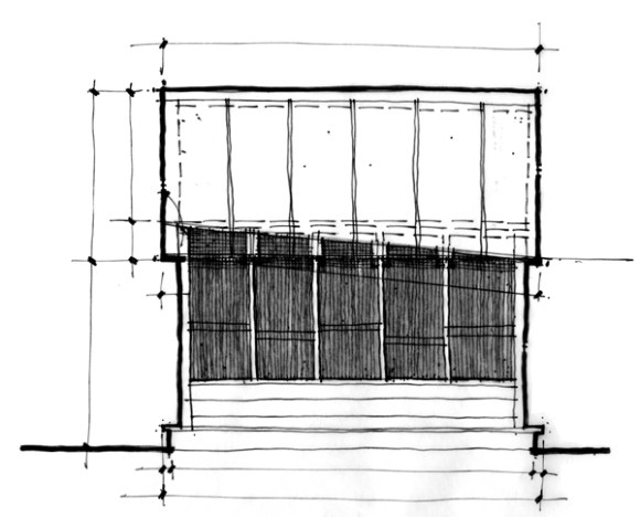 Original concept sketch for the Cottage House