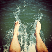 splashing feet in water