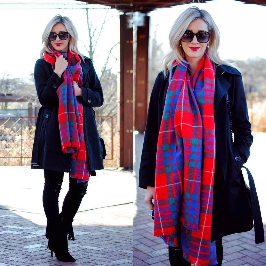 All black with a colorful scarf Perfect casual holiday look!hellip