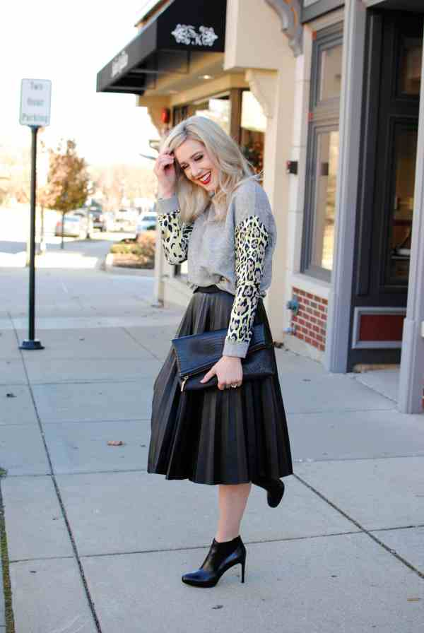 leather skirt, leopard sweatshirt