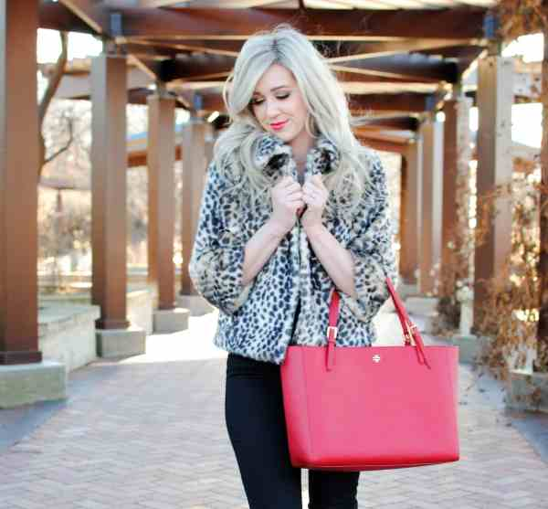 rachel barkules, leopard jacket, tory burch york red tote