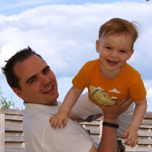 This is me, cluster headache patient, with my little boy.