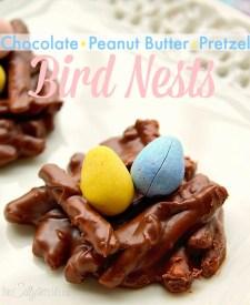 Chocolate Peanut Butter Pretzel Bird Nests