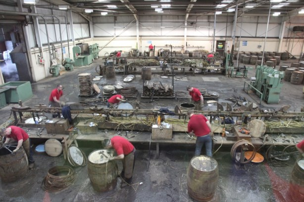 Lots of work going on down on the cooperage floor.