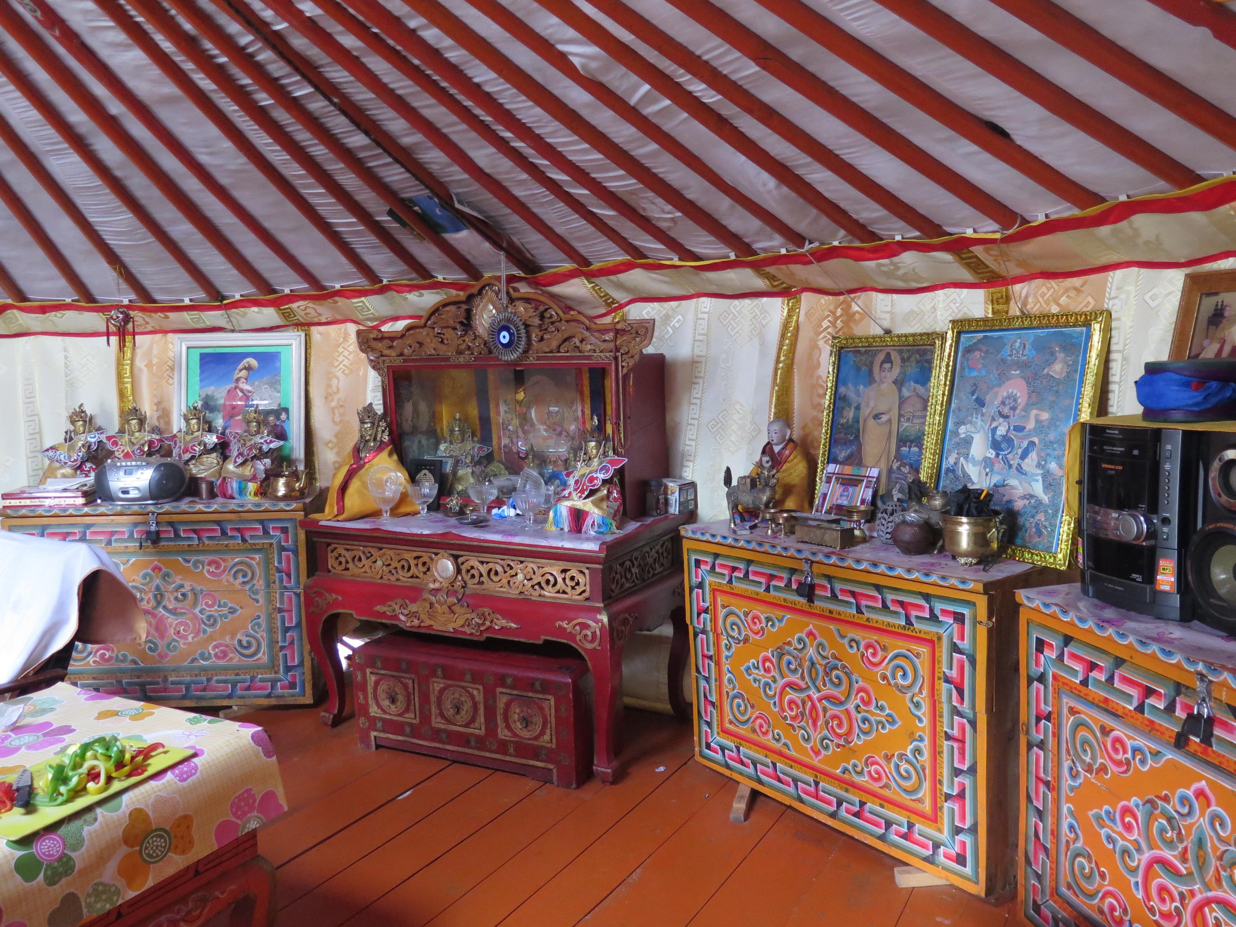 Inside Altaa's ger.