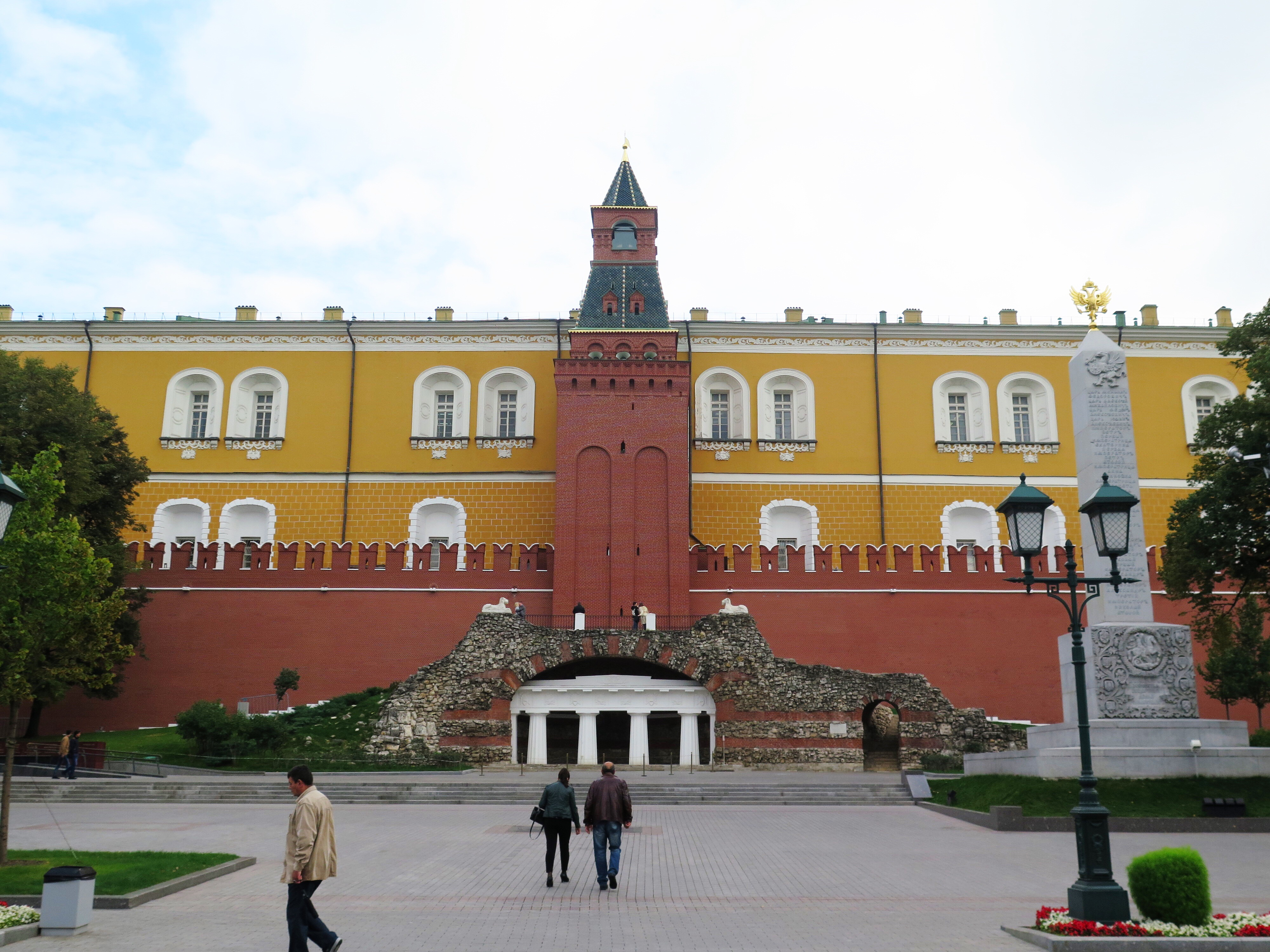 A bit of the original wall of the Kremlin, and the Kremlin in the back.