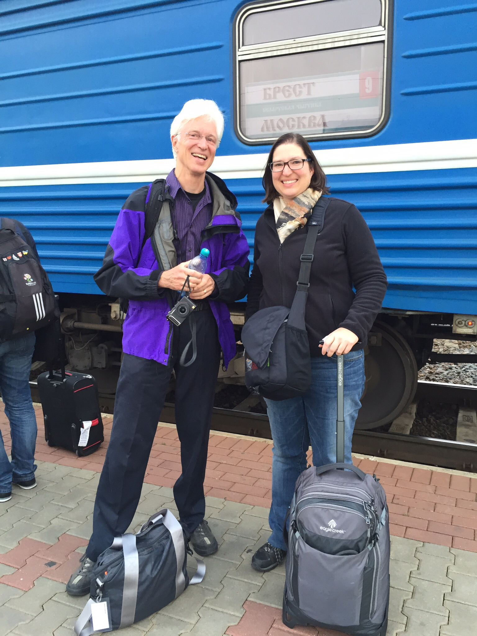 Steve and Carrie arrive in Minsk. How's that for traveling light?
