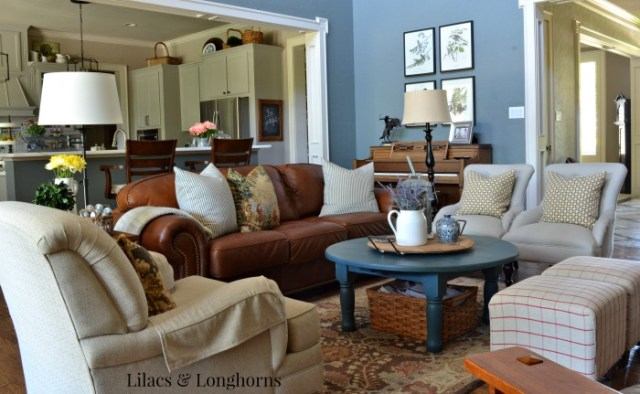 Lilacs & Longhorns summer living room
