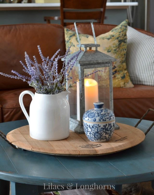 Summer coffee table vignette lilacs and longhornslilacs for Everyday table centerpiece ideas