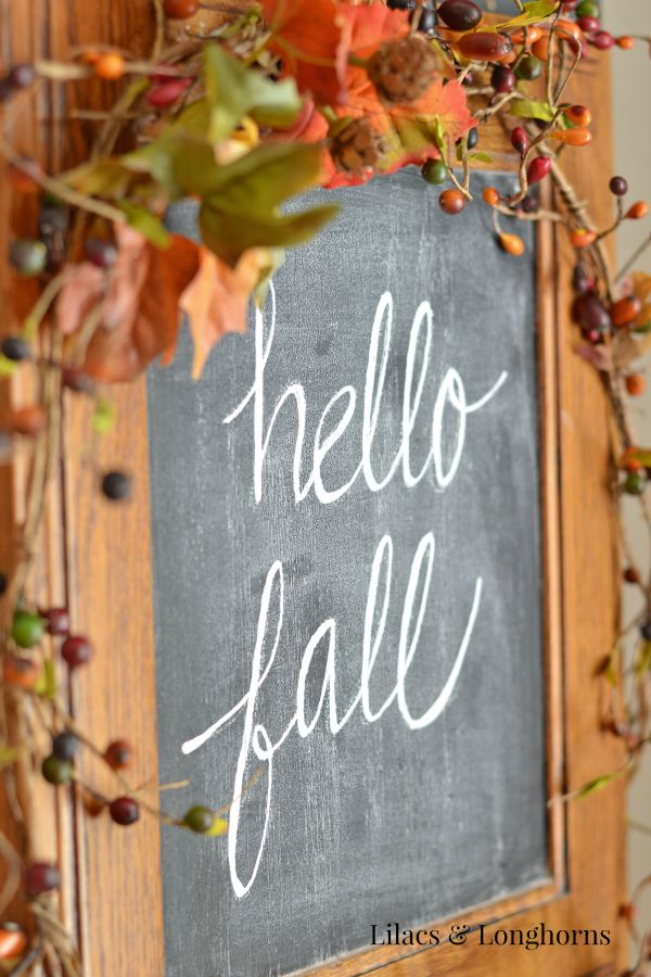 hello fall chalk board sign repurpose cabinet door