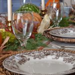 Spode Delamere transferware plates and a natural Thanksgiving tablescape