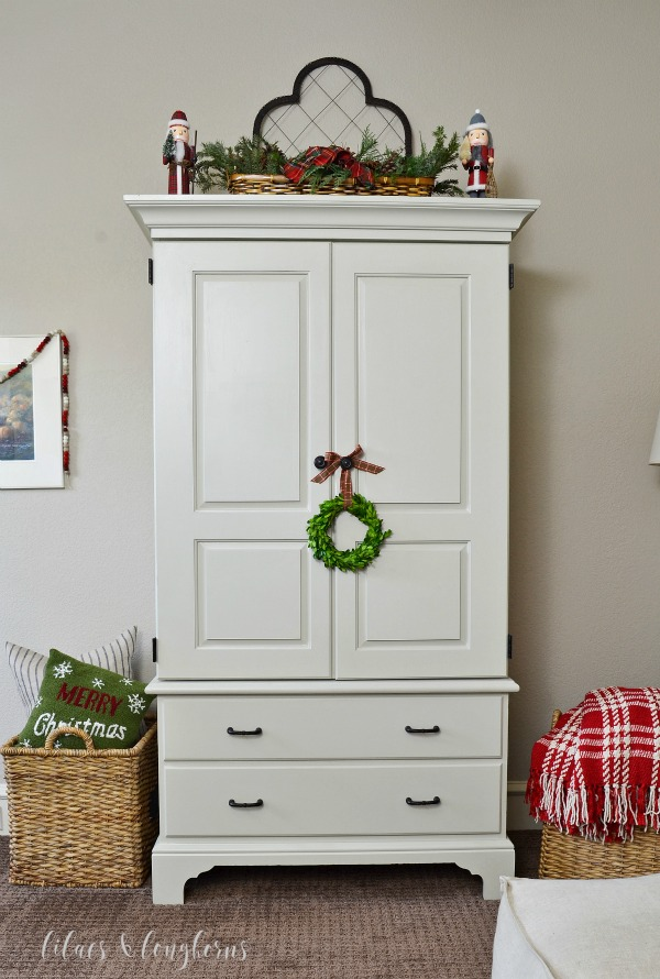 armoire with Christmas decor