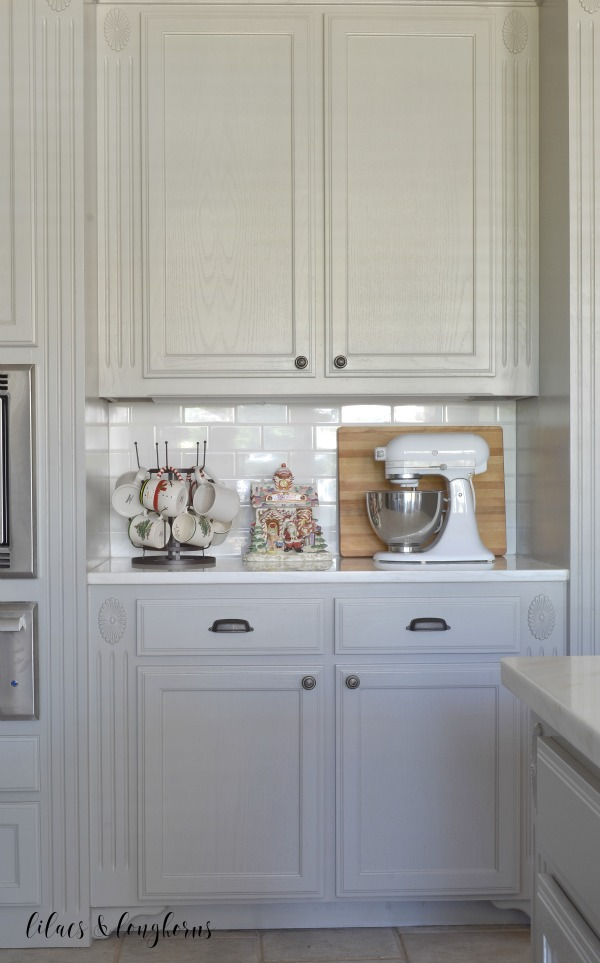 kitchen cabinets Christmas vignette