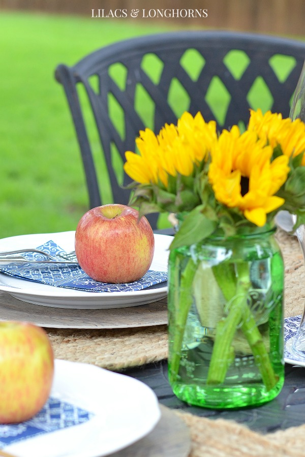 late summer table with apples