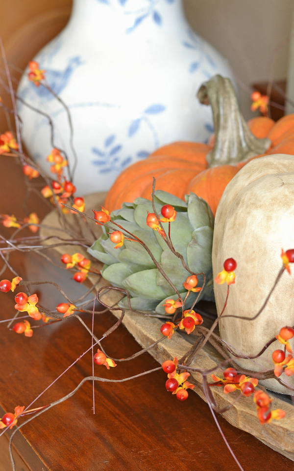 faux-pumpkins-artichoke-and-bittersweet-fall-decor
