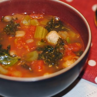 Mini Turkey Meatball, Kale and White Bean Soup….yum!