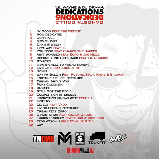 Lil Wayne Dedication 5 Mixtape Back Cover