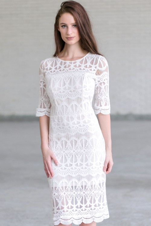 Medium Of Ivory Lace Dress