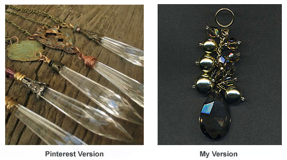 Necklace pendants made with chandelier prisms