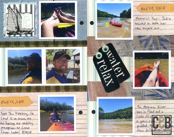 2 page scrapbook layout of kayaking outings from last summer.