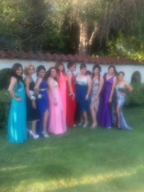 Sylmar Prom, Photo of girls in prom dresses getting ready to ride in LA Limo