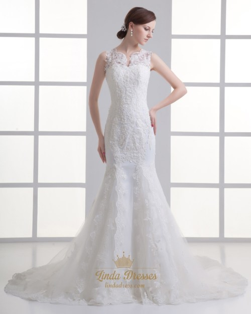 Medium Of Illusion Wedding Dresses