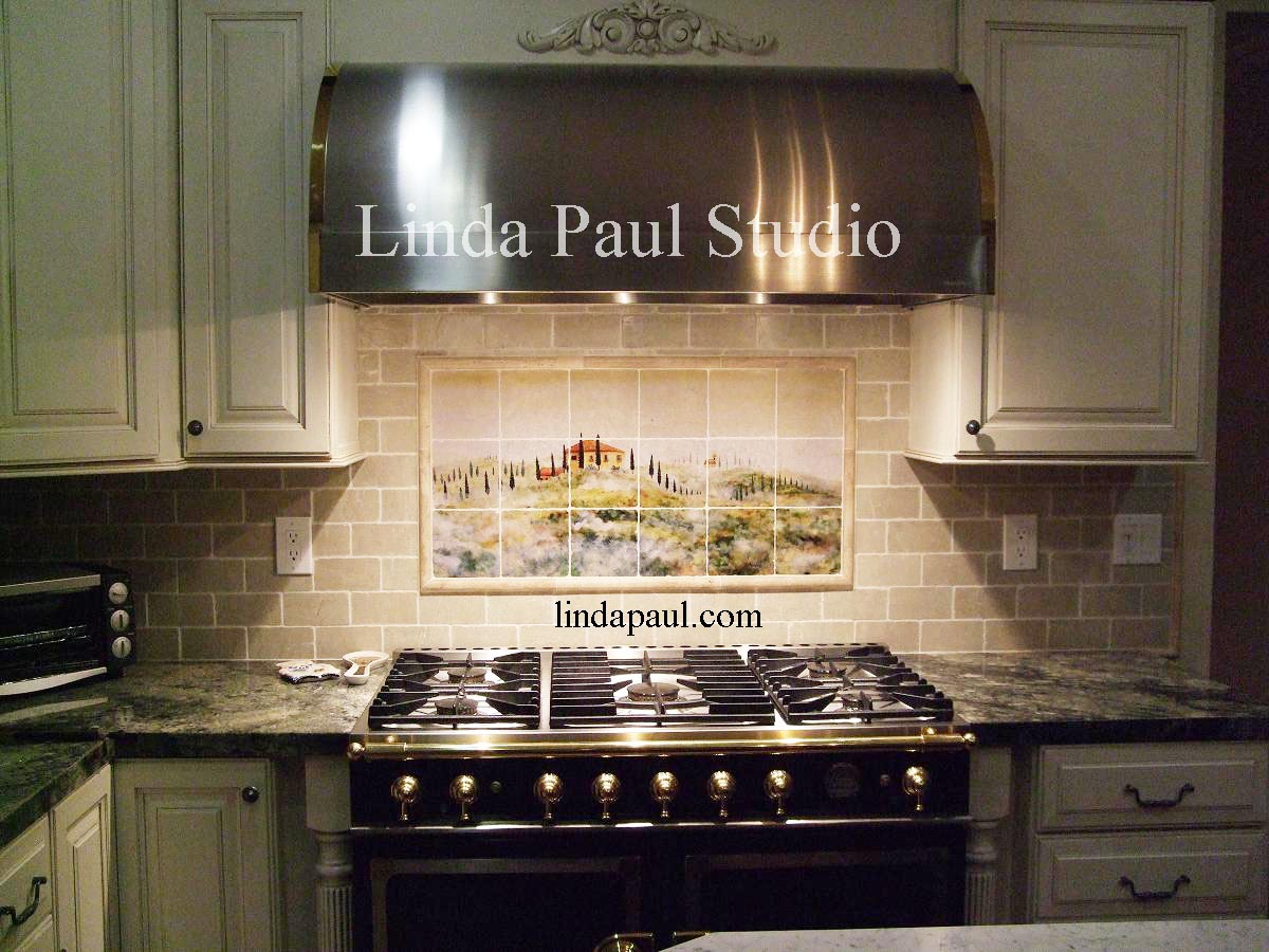 Tuscany Mist kitchen backsplash tile murals of Italy kitchen backsplash tiles Tuscan art landscape Kitchen tile backsplash by Linda Paul
