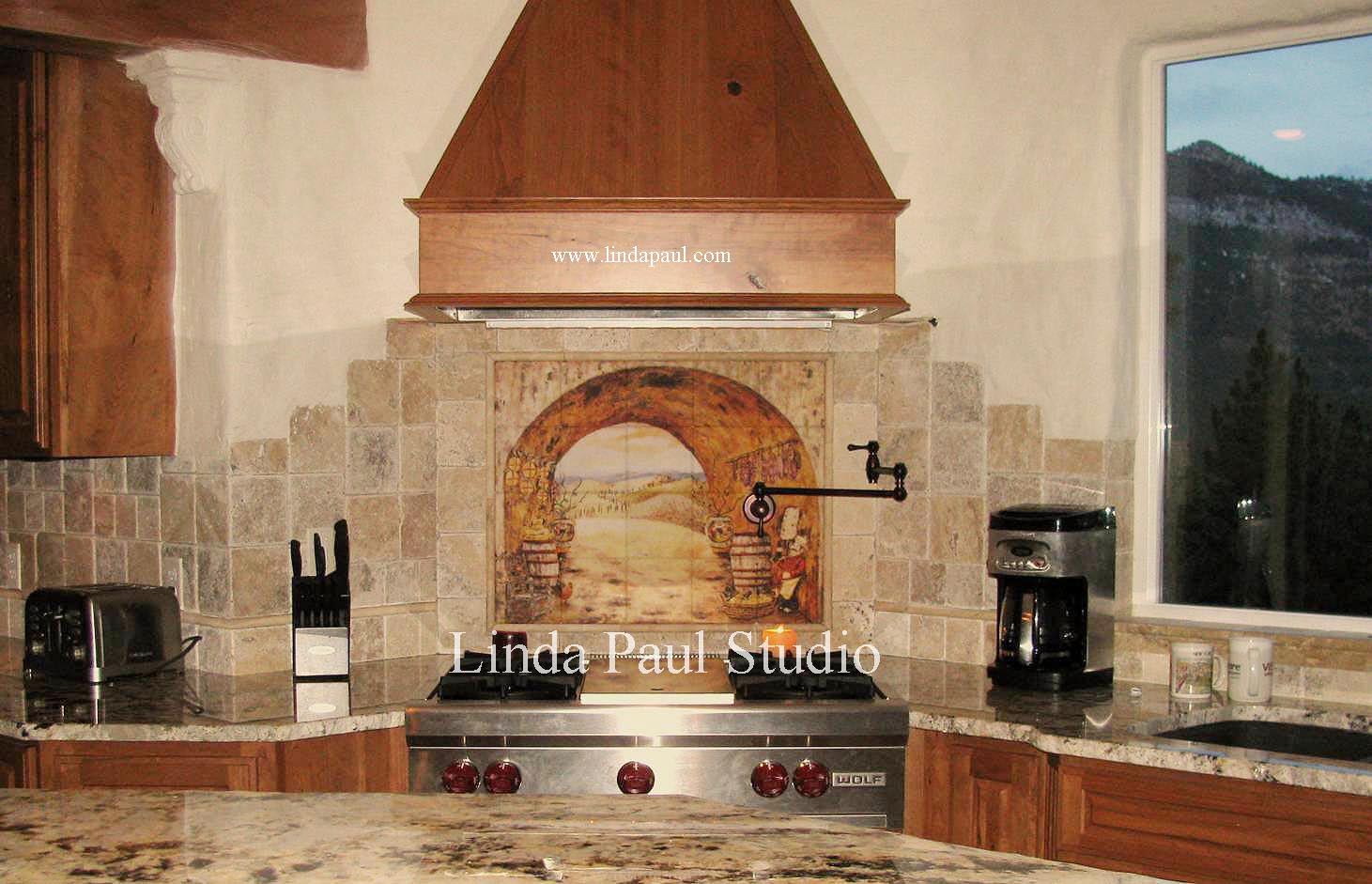 Everything Tuscany tile mural backsplash backsplash tiles for kitchen Everything Tuscany Tile Kitchen Backsplash Mural by artist Linda Paul