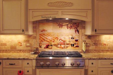 vineyard installed kitchen backsplash design travertive mosaic tile