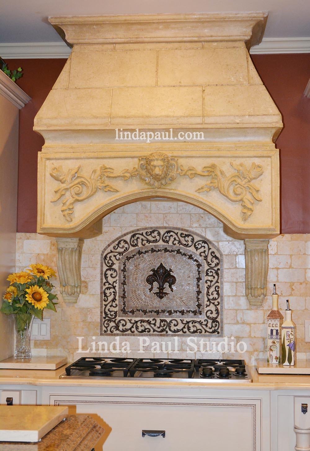 designer kitchen with celeste fleur de lis mosaic tile medallion CP AP S4 S5 Linda Paul Studio