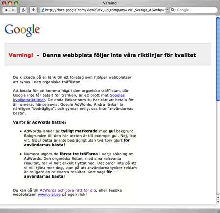 Vizi kritiserar Google