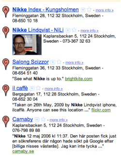 nikke vid sökning i Google maps